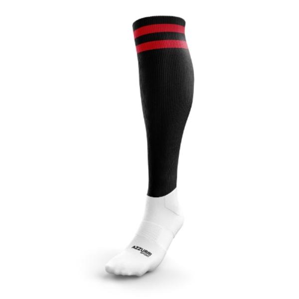 Picture of Abbeyside AFC 2 Stripe Full Socks Black-Red