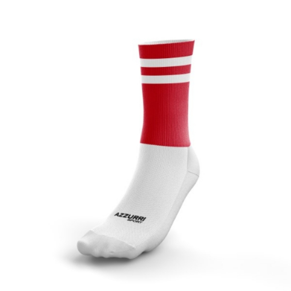 Picture of Passage East GAA 2 stripe Half Socks Red-White
