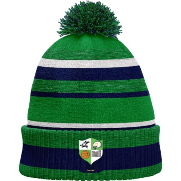 Picture of Kanturk Basketball Bobble Hat Emerald Melange-Navy-White
