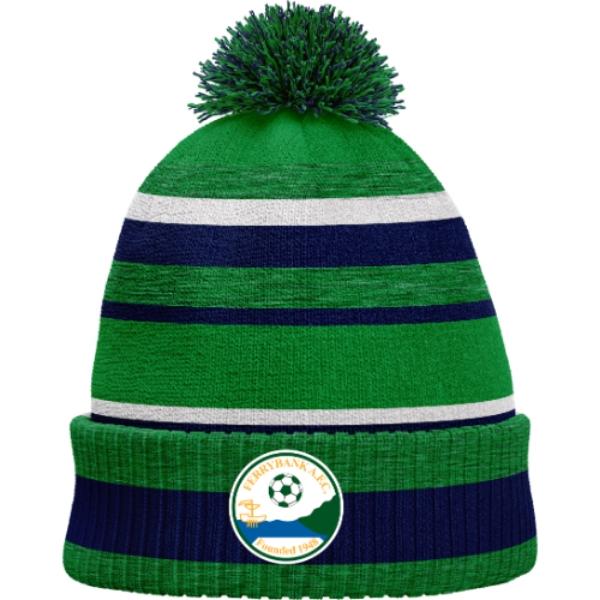 Picture of Ferrybank AFC Bobble Hat Emerald Melange-Navy-White