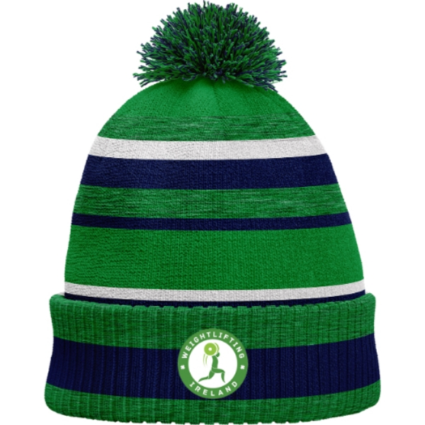 Picture of Weightlifting IrelandBobble Hat Emerald Melange-Navy-White
