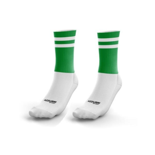 Picture of CBS Ennistymom 2 stripe Half Socks Emerald-White