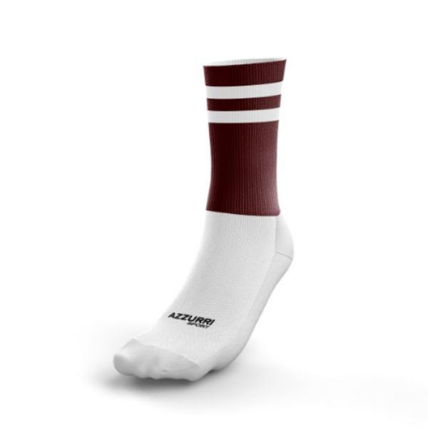 Picture of St Brigids LGFA 2 stripe Half Socks Maroon-White