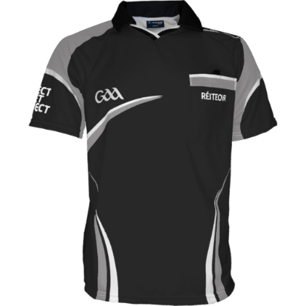 Picture of Black Grey GAA Referee Jersey Black-Grey-White