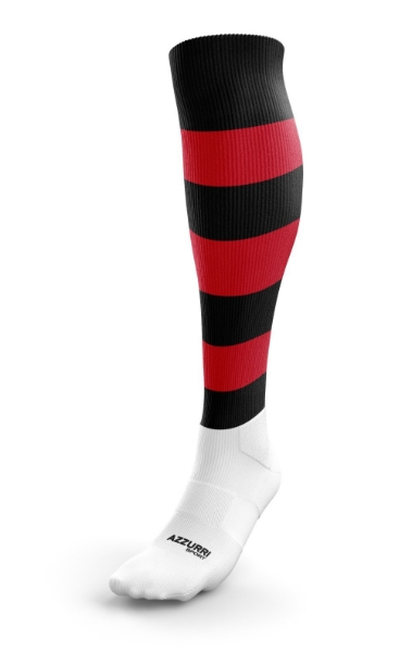 Picture of OLD CHRISTIANS HOOPED SOCKS Black-Red