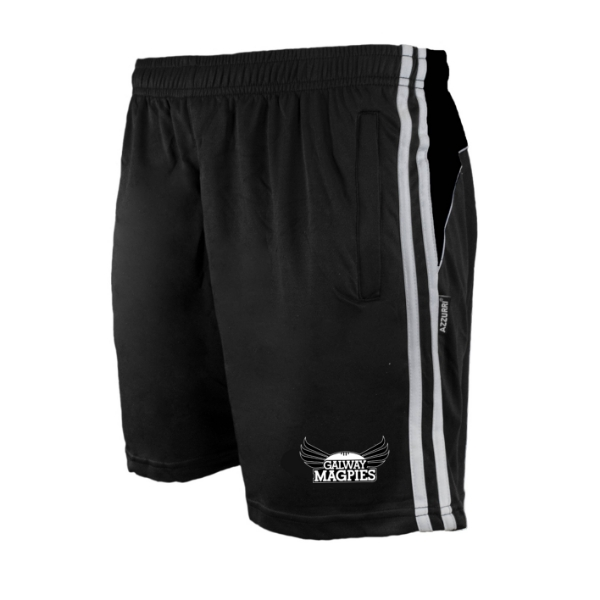 Picture of GALWAY MAGPIES Brooklyn Leisure Shorts Black-Black-White