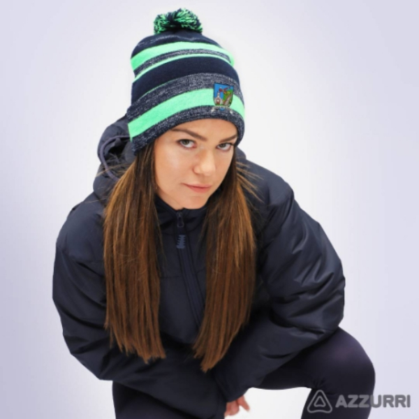 Picture of tallow camogie Bobble Hat Navy Melange-Neon Green-Navy