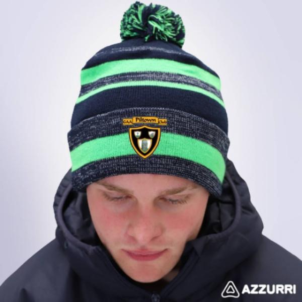 Picture of piltown gaa Bobble Hat Navy Melange-Neon Green-Navy