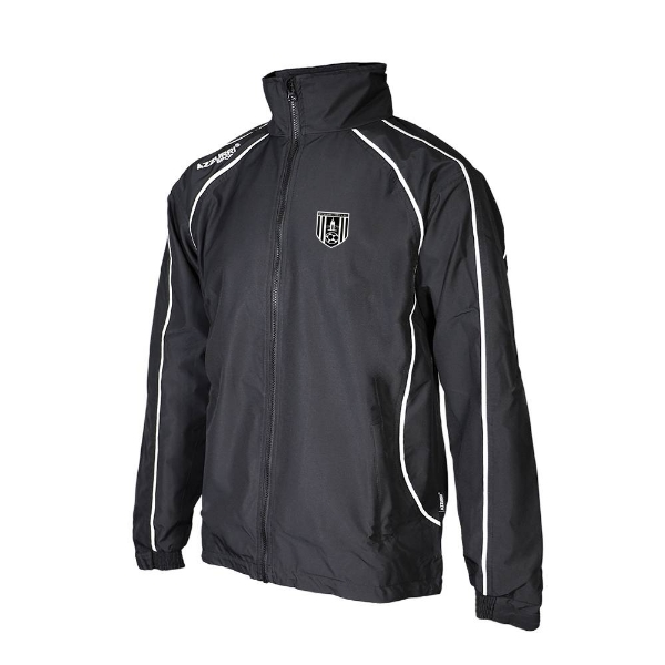 Picture of dunmore town afc Barrow Rain Jacket Black-Black-White