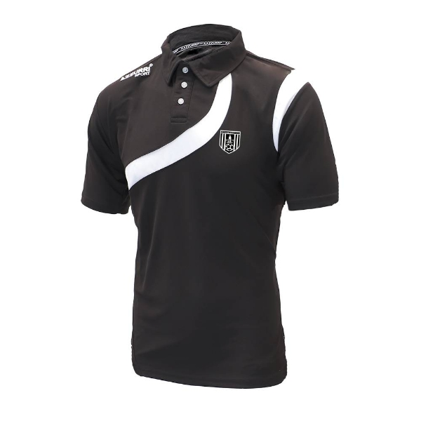 Picture of dunmore town afc polo shirt - adult Black-Black-White