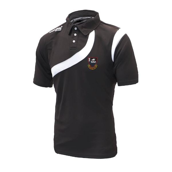 Picture of youghal rfc Turin Polo Shirt - adult Black-Black-White