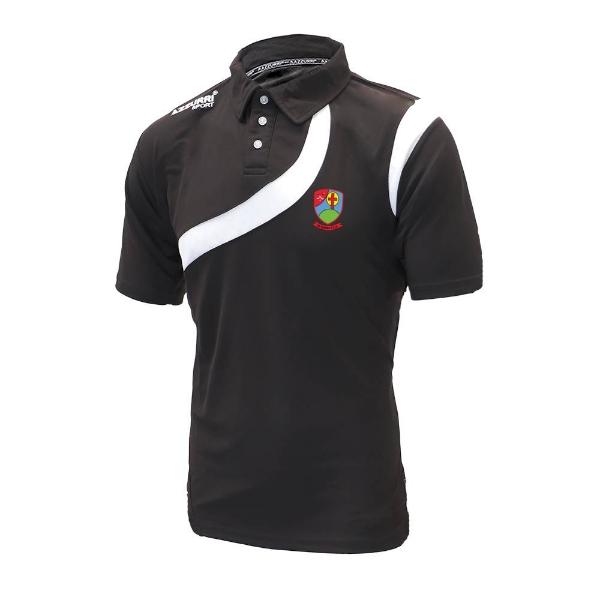 Picture of Na Fianna Hurling Club Turin Polo Shirt Black-Black-White