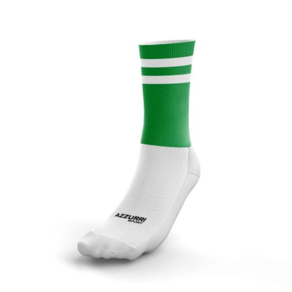 Picture of Renvyle GAA Kids 2 Stripe Midi Sock Emerald-White