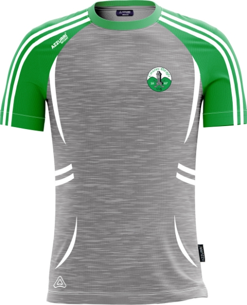 Picture of Kinnity Camogie Club Kids Swilly T-Shirt Grey Melange-Emerald-White