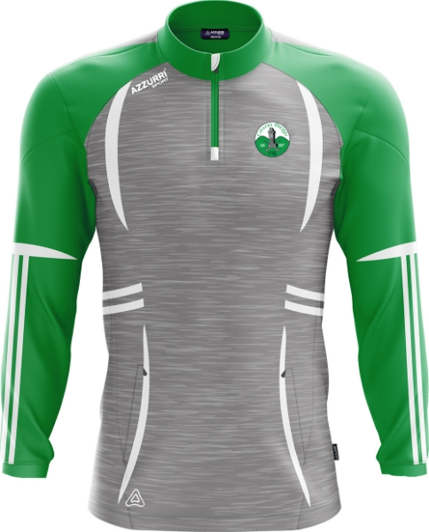 Picture of Kinnity Camogie Club Swilly Half-Zip Grey Melange-Emerald-White